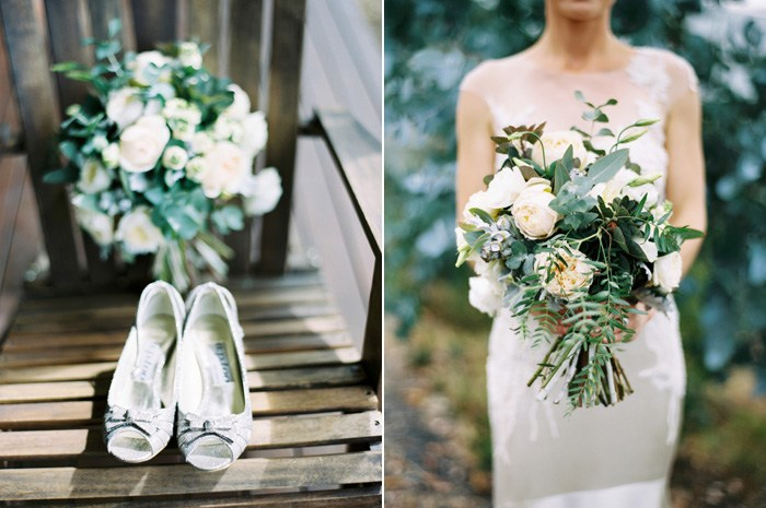 brides wedding shoes and bridal floral bouquet