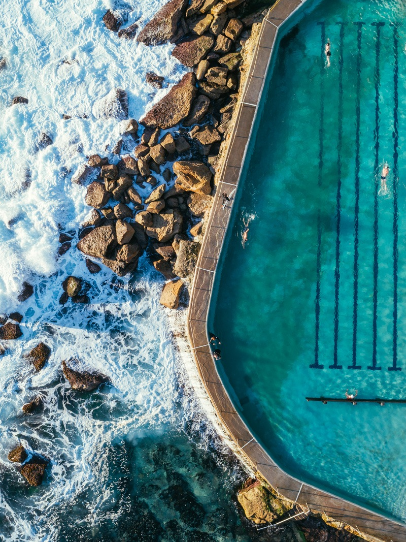 bronte beach rock pool drone photography