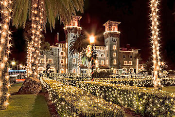 Lightner Museum in holiday lights