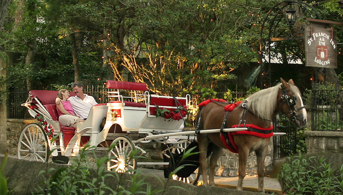 Horse Buggy passing St. Francis Inn 1140x650px