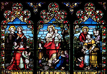 Three of the many stained glass windows at Trinity Episcopal Church