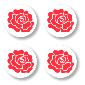 Button badge 4 pack - Red Rose