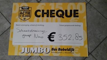 Jumbo Sponsoractie levert ruim 350 euro op