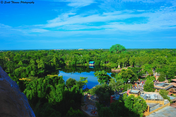 The view of Disney's Animal Kingdom from Expedition Everest thrill ride in Walt Disney World.