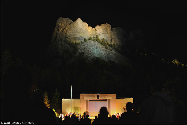 Mount Rushmore National Memorial lighted at the end of the evening ceremony.