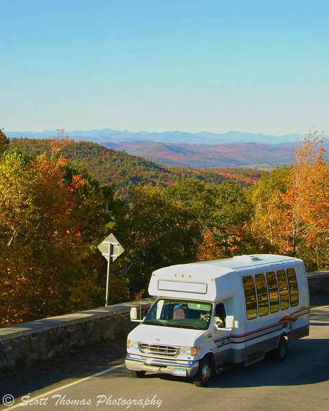 "Visitors can take the continuously running ""viewmobile"" from Prospect Mountain's third lookout to the summit. (Photo by Scott Thomas Photography)"