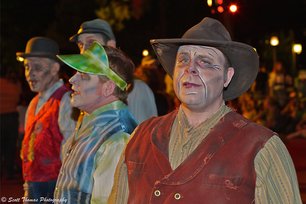 The Cadaver Dans entertain guests before the Boo To You parade in the Magic Kingdom, Walt Disney World, Orlando, Florida.