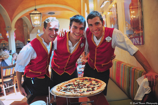 Young Italian servers who brought a pizza to our table in Italy's new Via Napoli restaurant in Epcot's World Showcase.