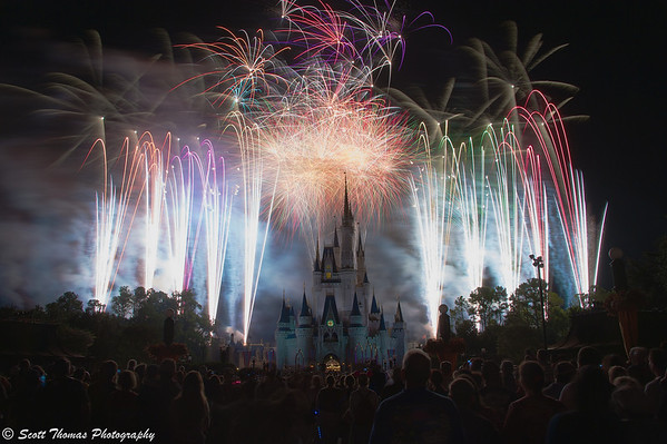 Twelve seconds of the Finale of Wishes fireworks show in the Magic Kingdom, Walt Disney World, Orlando, Florida.
