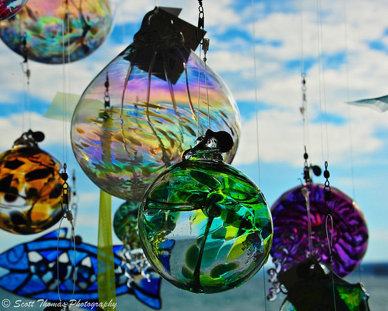 Glass Sun catchers at the back of a shop in Skaneateles, New York.