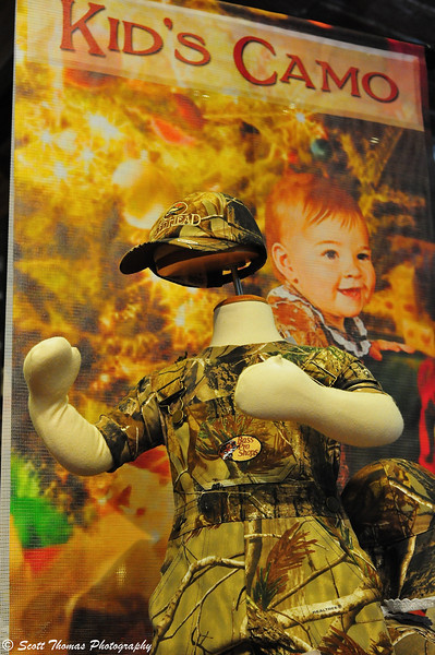 Kid's Camo display in the Bass Pro Shops of the Finger Lakes at the Finger Lakes Mall in Auburn, New York.