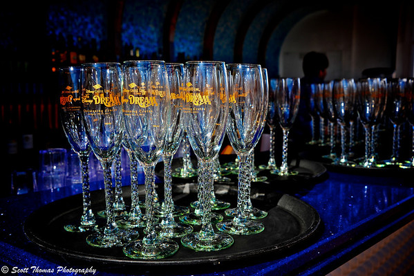 Disney Dream Christening Cruise champagne glasses before being filled and distributed to passengers.