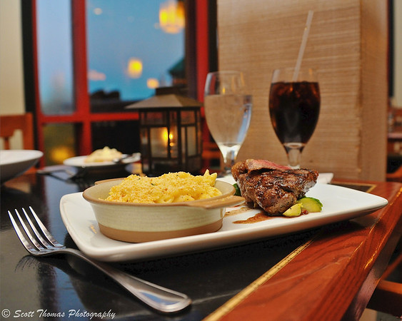Grilled Buffalo Striploin with Artisan Cheese and Macaroni at the Artist Point restaurant in the Wilderness Lodge resort at Walt Disney World, Orlando, Florida.