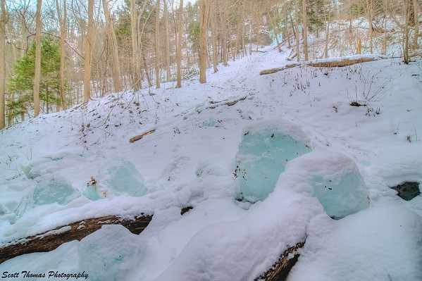 Ice boulders found along the gorge trail at Taughannock Falls State Park.
