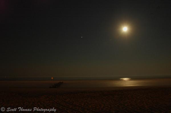 Full moon rising over an Ocean City, New Jersey, beach.