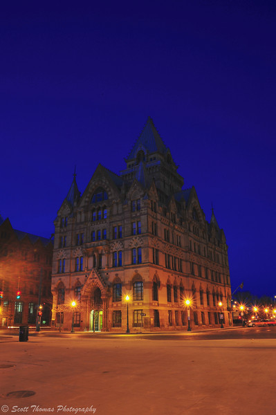 Syracuse Savings Bank building on Clinton Square in Syracuse, New York taken during the Blue Hour.