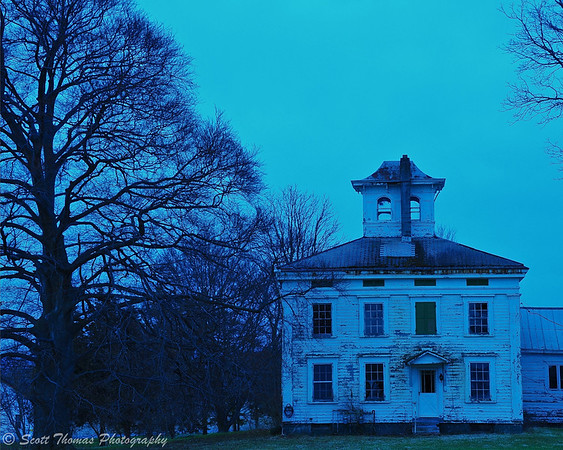 Blue light on an old farm house near Baldwinsville, New York.