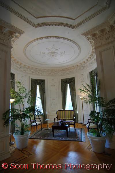 Restored reception room inside Boldt Castle on Heart Island near Alexandria Bay, New York.