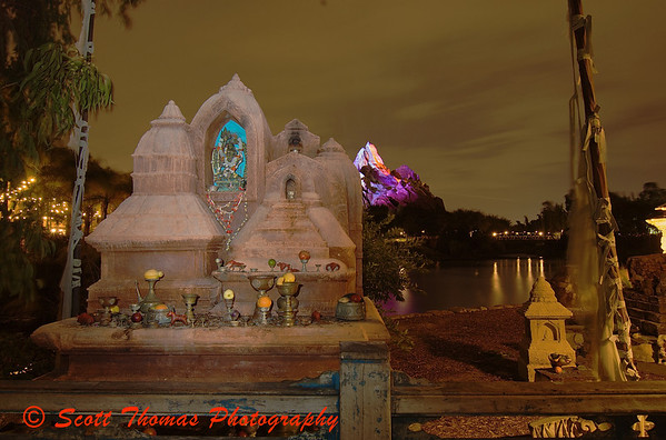 Night photo of the Yeti Shrine in Disney's Animal Kingdom, Walt Disney World, Orlando, Florida.