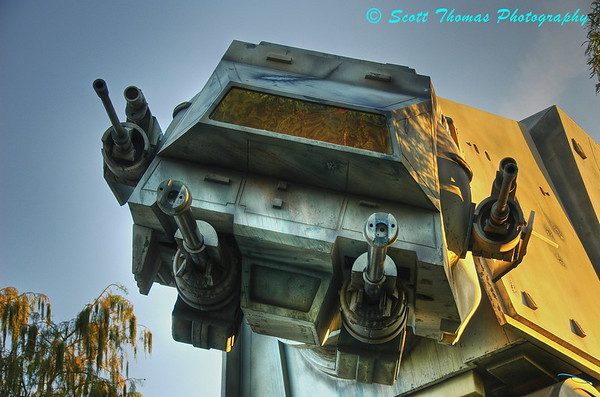 The AT-AT protecting the entrance to the Star Tours attraction at Disney's Hollywood Studios in Walt Disney World, Orlando, Florida. Image produced by Photomatix from the three photos above.