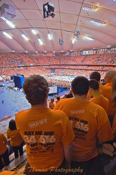"""Thousands of these """"Just me and 34,616 of my friends"""" t-shirts were sold in advance of the Syracuse-Villanova Big East basketball game held on Saturday, February 27, 2010 in the Carrier Dome on the Syracuse University campus in Syracuse, New York."""
