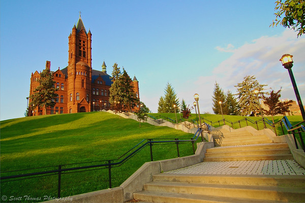 Crouse College in summer morning sunlight.