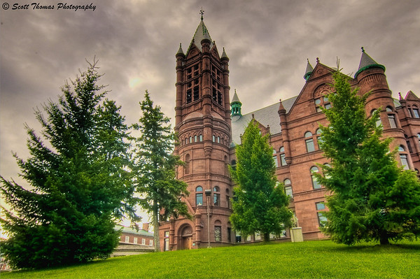 Gloomy Crouse College on the Syracuse University campus in Syracuse, New York.