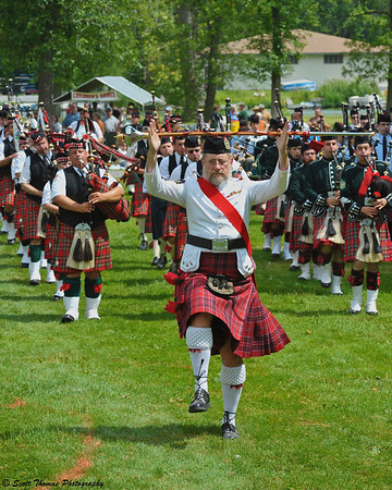 Pipe Major leading the Massed bands parade at the CNY Scottish Games at Long Branch Park in Liverpool, New York, on Saturday, August 14, 2010.