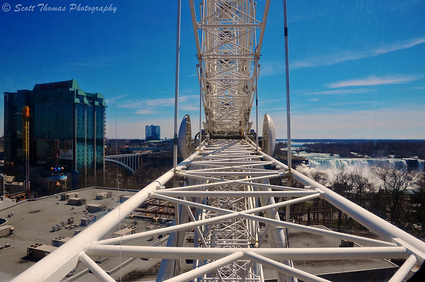 Looking towards the center of the Niagara Skywheel while riding it in Niagara Falls, Ontario, Canada.