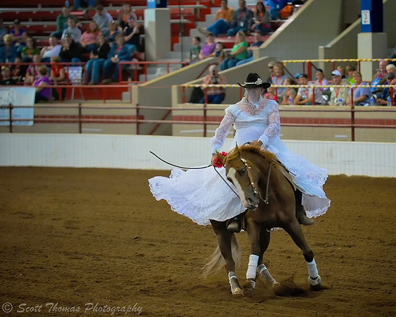 "A ""bride"" performs a spin during the Freestyle class at the 2011 CNYRHA Reining Horse Ride and Slide show in Syracuse, New York."