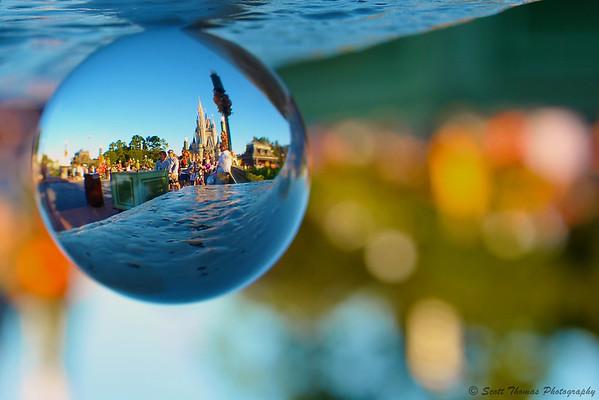 Cinderella Castle through a crystal ball in the Magic Kingdom, Walt Disney World, Orlando, Florida.