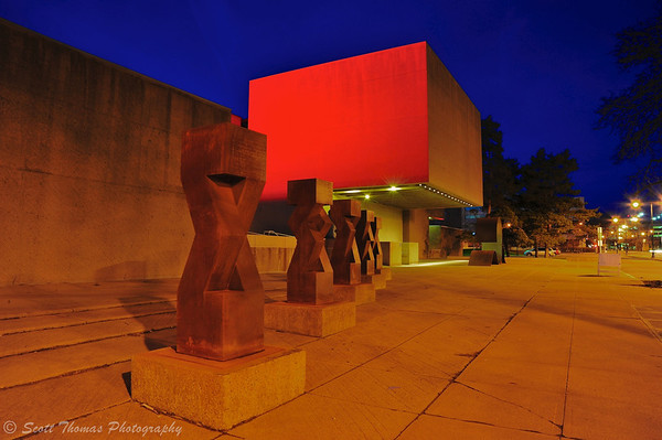 Everson Museum in Syracuse, New York bathed in orange lighting in celebration of the Syracuse University Men's Basketball team making it to the NCAA Final Four Championship weekend in Atlanta, Georgia.