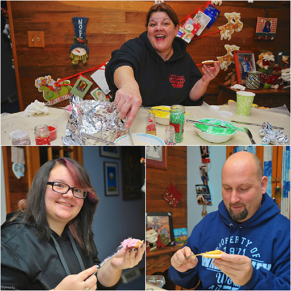 My niece Shannon with her daughter, Theresa, and husband, Eric, frosting Christmas cookies.