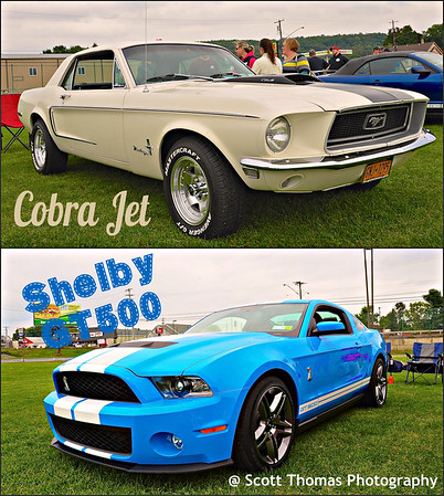 1968 Cobra Jet Mustang with a 428 cu. in. V8 (top) and a 2014 Grabber Blue Shelby GT500 Mustang with a 600 plus HP engine.