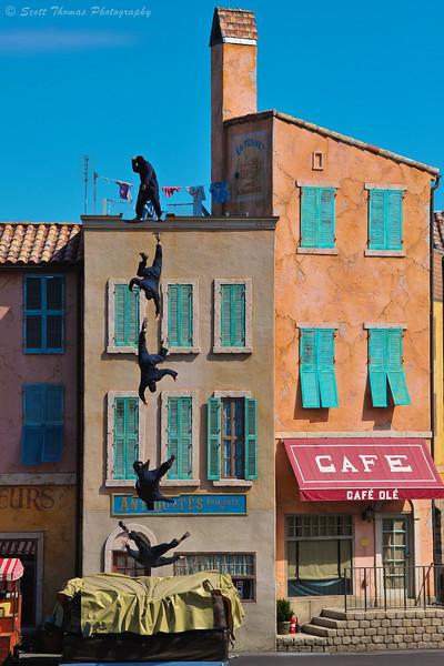 Stunt Man falls during a performance of Lights, Motors, Action Extreme Stunt Show in Disney's Hollywood Studios at Walt Disney World, Orlando, Florida.