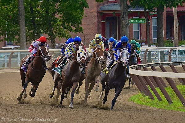 Thoroughbred race horses come out of the second turn during the running of the 2015 $1.25M The Whitney at Saratoga Race Course in Saratoga Springs, New York on Saturday, August 8, 2015.