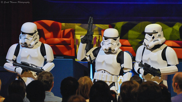 Imperial Stormtroopers entertaining the audience before the Stars of the Saga show during Star Wars Weekend at Disney's Hollywood Studios in Walt Disney World, Orlando, Florida.