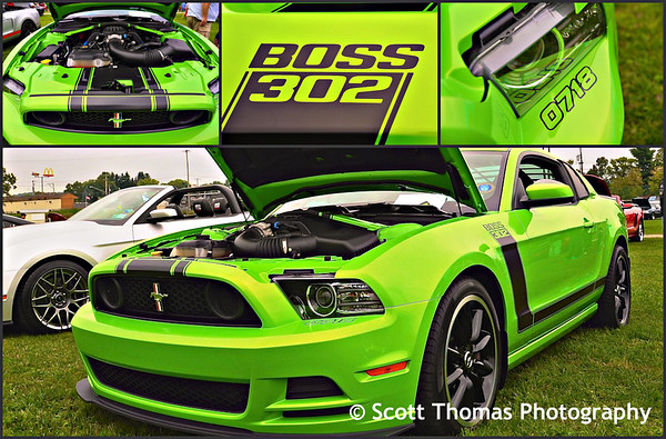 2013 Gotta-Have-It Green Boss 302 Ford Mustang at the Broome County Fairgrounds in Whitney Point, New York on Saturday, September 20, 2014.