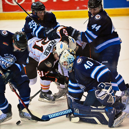 Action during a recent Syracuse Crunch ice hockey game in Syracuse, New York.