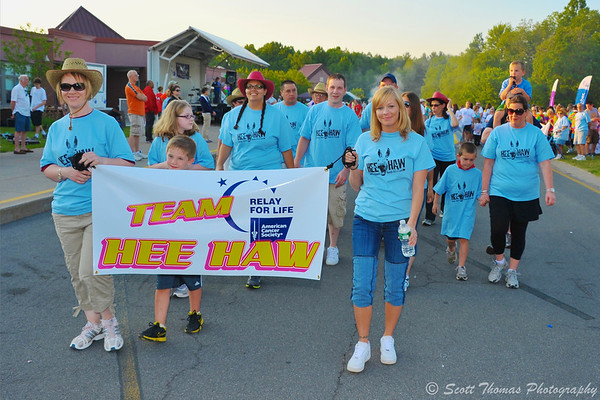 Members of Team HeeHaw walk the Banner Lap during the Baldwinsville (NY) Relay for Life.