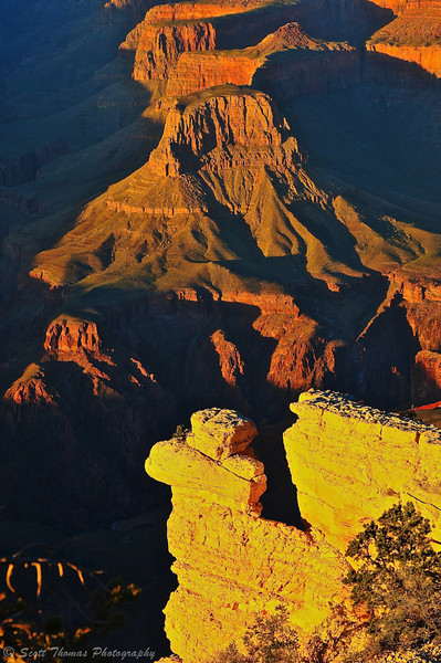 Sunset light painting the walls and mesas from Yavapai Point in Grand Canyon National Park in Arizona.