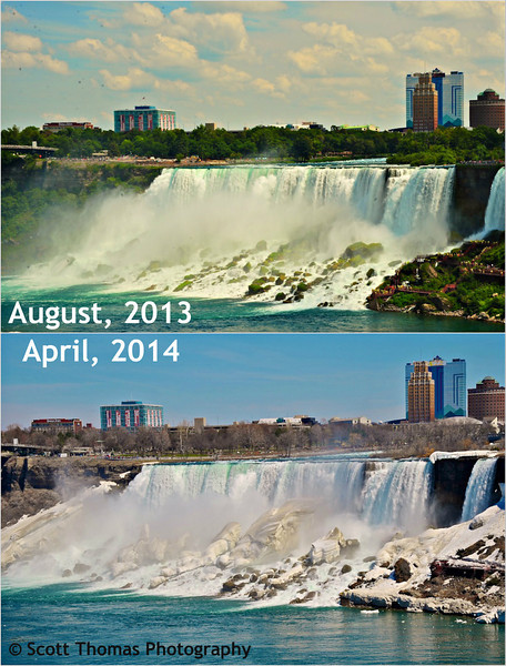 Summer and Spring photos of the American Falls from the Canadian city of Niagara Falls. Photos taken eight months apart.