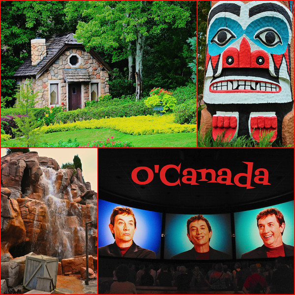 O'Canada. From top left: Victoria Gardens, Totem pole, Rocky Mountain waterfall, Canadian actor Martin Short.