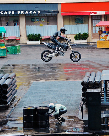 Villian motorcycle jumps over the Hero during the Lights, Motors, Action Extreme Stunt Show at Disney's Hollywood Studios.