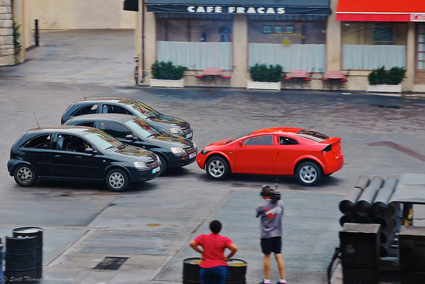 The Hero going nose to nose with the Villians during the Lights, Motors, Action Extreme Stunt Show in Disney's Hollywood Studios.