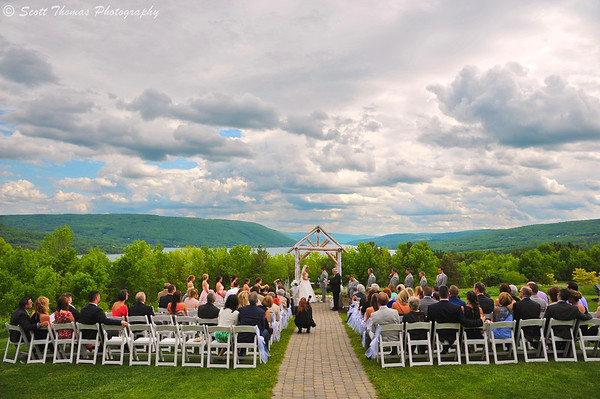 A bride and groom take their vows at the Bristol Harbour Resort in Canandaigua, New York on Friday, May 30, 2014.
