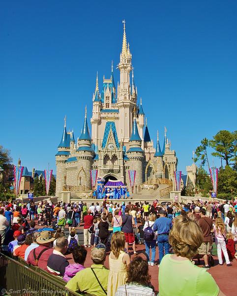 Guests enjoy the Dream Along with Mickey show at the Magic Kingdom, Walt Disney World, Orlando, Florida.