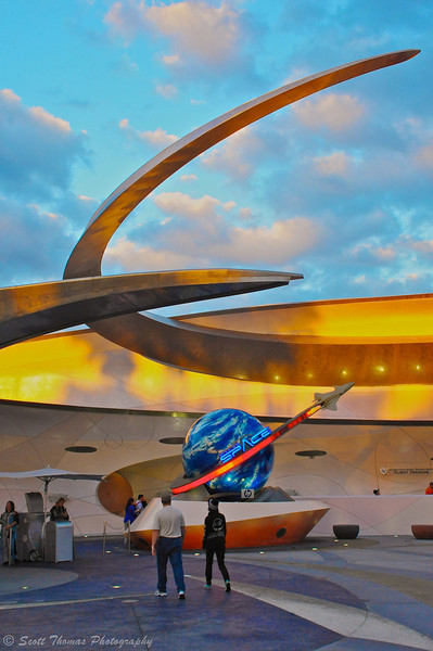 Guests heading into Mission Space in Epcot's Future World at Walt Disney World.