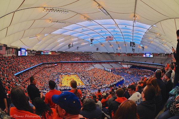 Halftime of the Syracuse University Orange and Villanova Wildcats NCAA Men's Basketball game at the Carrier Dome in Syracuse, New York on Saturday, December 28, 2013.