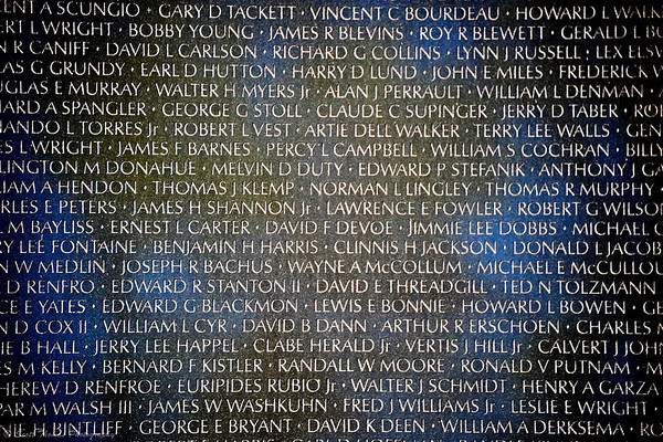 Names engraved into the Vietnam Veterans Memorial on the National Mall in Washington, DC.